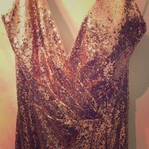 Belsoie Rose Gold Sequin Gown